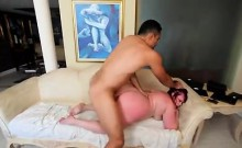 Curvy redhead loves to ride a long dick and to get nailed doggy style