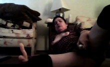 50 years old Gwen wanking with wand and dildo