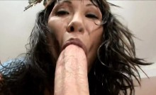 Large tit chick gives blow and titjob before riding up penis