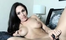 sexy brunette with a favorite toy