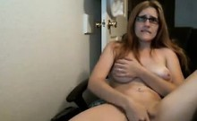 Horny Chick With Glasses Masturbates