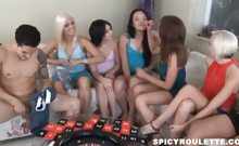 8 amateur teens playing Sex Roulette game