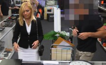 Horny blond milf pounded by nasty pawn dude in storage room