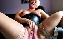 Short haired blonde nympho in stockings sensually fingers h
