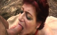 Brunette Mature With Nice Tits Screwed In The Forest!