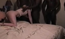 Attractive butt slut gets her two fuck holes gangbanged