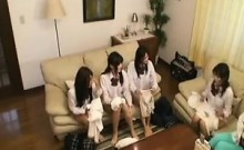 Young Asian hotties slip out of their school uniforms into