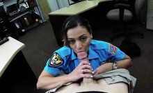Busty ass officer gets wild in the shop