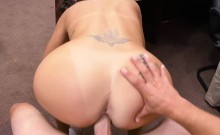 Sexy amateur brunette babe gets railed by pawn keeper