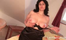 Brunette tempting mature rubbing cunt from behind