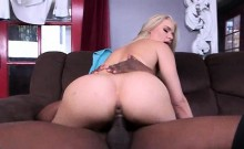 Hot blonde takes a black doggy style fuck