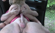 Dirty blonde sucks dick after pissing in fake taxi