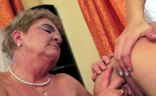 Teen pussylicked and fingered by granny