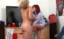 Two Young Bisexual Girls Gagging Dick