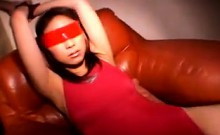 Blindfolded Babe In Red Is Poked And Groped, Then Gets Toye