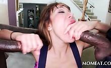 Hardcore 3some with mature slut sucking two black dicks