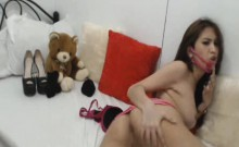 Hot Shemale Strips and Jerks Off
