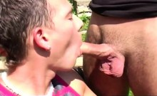 Bisex threesome with horny blonde and two horny guys