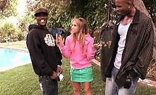Blonde slut blows and fucks two monster black shafts