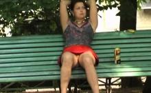 Shy teen Karine upskirt outdoor