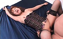 Splendid Sakurako in lingerie taking hairy shaft up in her