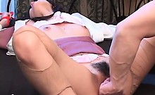Excited jap girl in stockings pussy finger fucked while