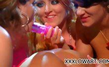 Four hot lesbians having a sex party