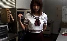 Jap girl in uniform massaged erotically by horny teacher