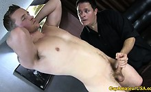 Straight guy gets cock tugged and sucked