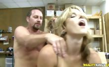 Cory rides hunter cock in the backroom of her convenience