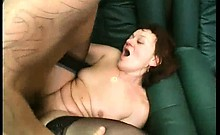 Redhead slut with sexy stocking is so cock-hungry. She