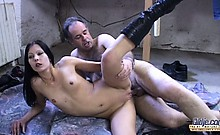 Working old man gets amazing fuck with a sexy young brunette