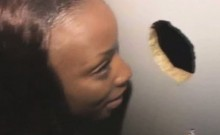 Black Ghetto Slut Sucking Dick Through A Glory Hole