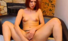 Horny Redhead Strips And Uses Her Toy