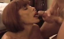 Beautiful hair-cut milf gets cum in her mouth