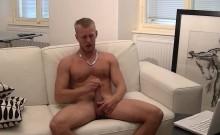 Athletic hottie Denis Reed loves stroking his hard cock