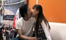 Young Asian cutie slurps on a stiff cock and gets fucked on