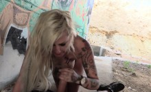 Busty tattooed blonde bangs fake cop in underpass