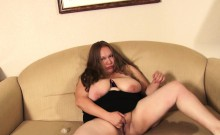 BBW brunette has interracial sex on the couch