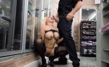 Extremely horny store customer fucks the cop that got called