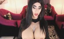 Big Juggs Tranny Strokes her Big Hard Cock