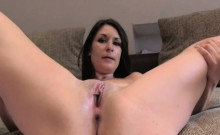Sexy brunette receives big facial on casting