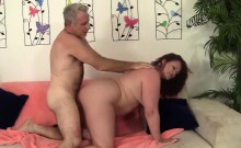 Sexy redhead plumper sucks her buddy's fat cock before she