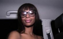 Funny ebony amateur bangs in public