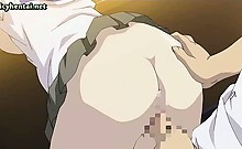 Teen anime gets milky boobs rubbed