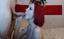 Hot amateur redhead wife gives great blowjob pt1