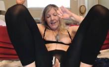 Busty blonde mature masturbation with sextoy