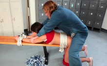 Nasty cheerleader Olivia Lua banged by janitor in lockeroom