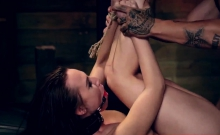Huge boobs bondage and tied up sex slaves Best buddies Aidra