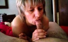 Mature blonde rides big cock